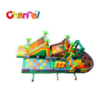 Tropical inflatable obstacle course inflatable for adult