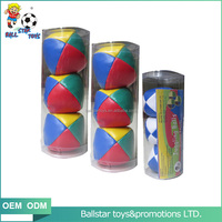 2.5 inch 6.3cm dia. B357 phthalate free PVC leather Stuffed juggling ball set with PVC tube packing