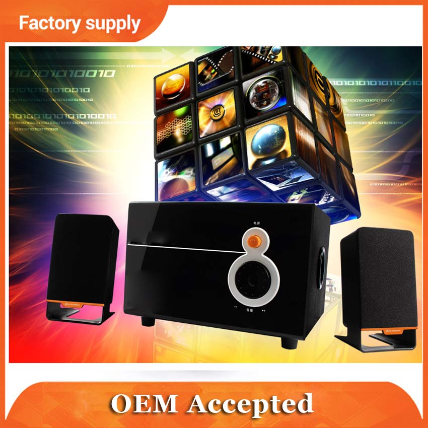 2.1 Black Mini Multimedia wooden best music sound system for home use