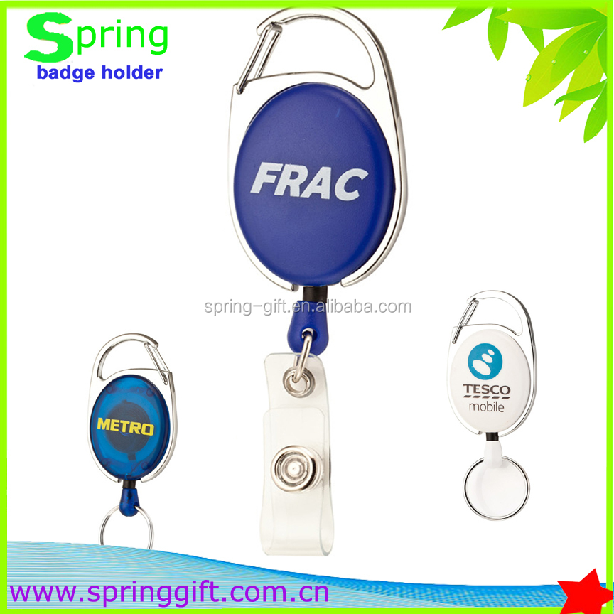 New carabiner retractable pull reel badge holder with key ring