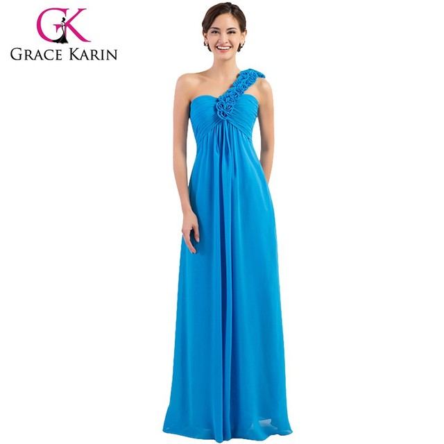 Grace Karin Hot Sale One Shoulder Flower Chiffon Long Blue Bridesmaid Dresses CL3402-4#