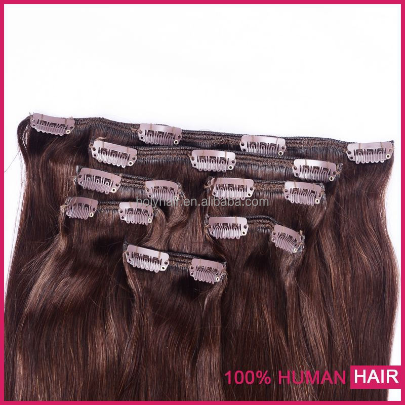 Ali express high quality straight 100% brazilian hair clip-on hair extension