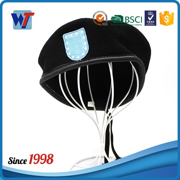 70grams Wool Men's Custom Black Beret with custom embroidery logo