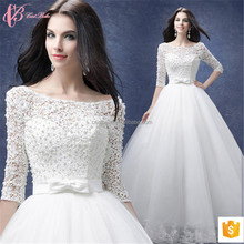 2017new design Graceful long sleeve sexy backless lace appliques wedding dress