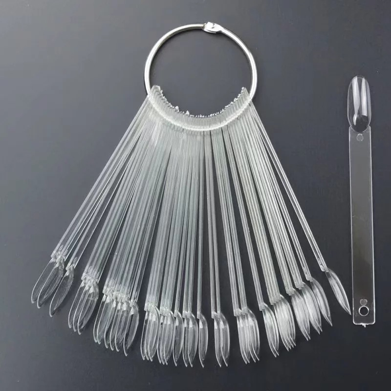 50pcs Round Head Nail Color Chart Holder Tools Clear Natural Color Nail Art Tips Display Fan Board