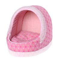 Pet Dog Cat House Bed Fleece Heart Print New Warm House Shaped Pad Mat Kennel