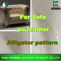 Crocodile pattern pu leather for sofa