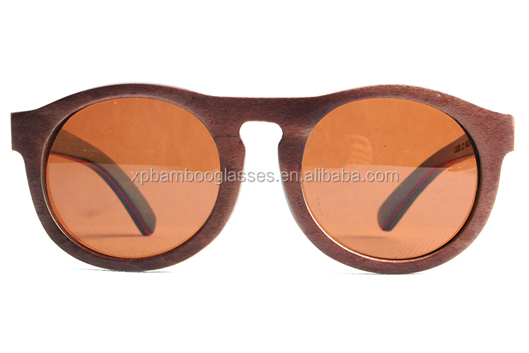 In stock engrave logo brown skateboard wood sunglases