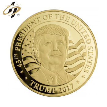 Factory making your own gold plated America president Trump souvenir coins