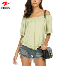 2018 Wholesale Women's Off Shoulder Blouses Short Sleeves Casual Tops For Summer