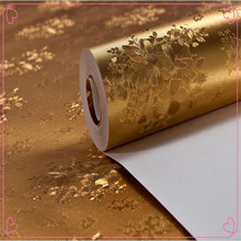 Wholesale arabic design waterproof magnetic fancy Gold bamboo glitter pvc wall paper