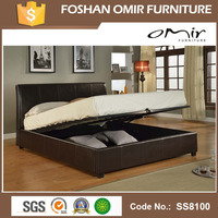Adjustable Storage Wooden PU Leather Bed For Bedroom From Guangzhou Factory SS8100