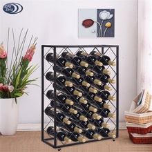 32 Bottle Wine Rack with Glass Table Top Wine Display and Storage Rack