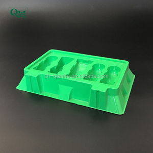 green plastic packaging blister package for cosmetic tray