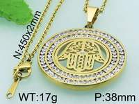 Kalen fashion imitation diamond setting gold-plated round pendant and necklace for men and women