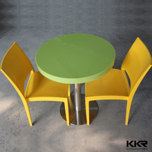 Modern artificial stone dining tables with wood inlay