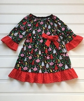 Bow Christmas tree baubles stylish new design toddler girls kids wholesale Christmas dress children's boutique clothing