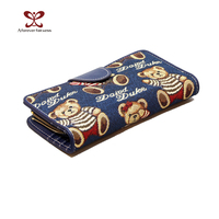 Fancy Wallets Ladies Sweet Embroidery Many Interlayer Dany Bear Ladies Snap Closure Wallets