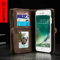 CaseMe Luxury Leather Wallet Case For Iphone 7, Book Style Vintage Case For iPhone 7s, For 7 Plus wallet case