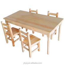 Children Solid Wood Study Desk and Chair for 6-person