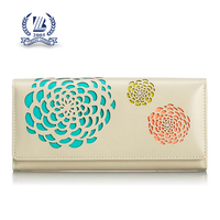 2016 women pu leather pocket purse with silk screen printing