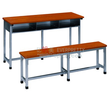 Three Person Student Table with Bench for School set
