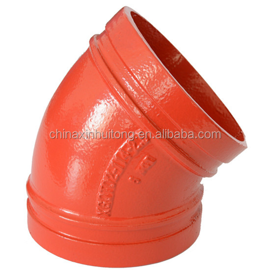 FM/UL Approved Casting Iron Material Red Epoxy Painted 45 Degree Elbow