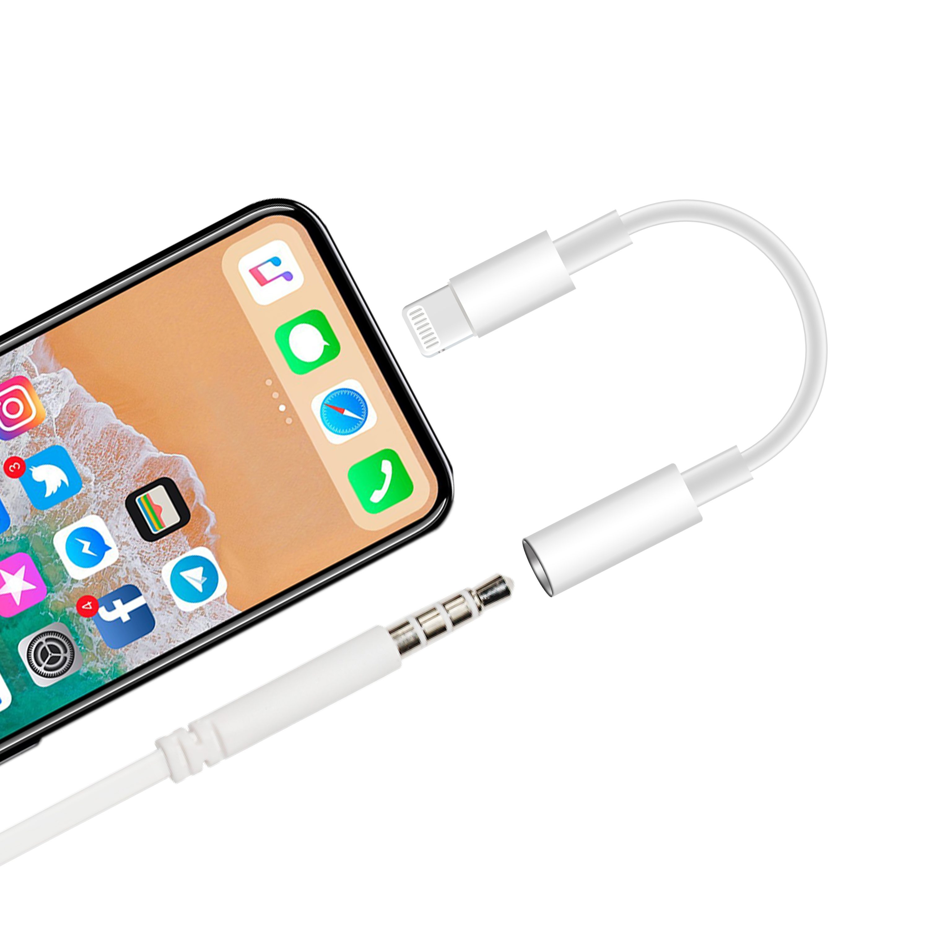 White aux audio cable for iPhone X/Xr/Xs to 3.5mm Headphone jack adapter stereo converter for 8pin Apple devices