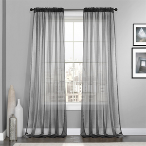 China Wholesale Home Textile Linen Voile Sheer Window Decoration Curtain, Ready Made Curtain