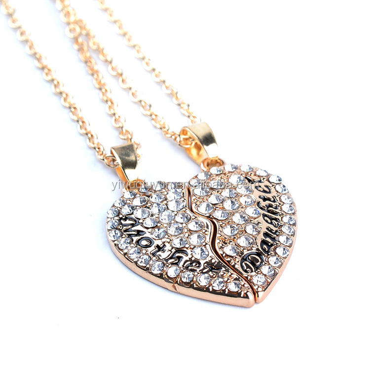 Wholesale Gold Plated Mother Daughter Crystal Puzzle Rhinestone Love Heart Couple Necklaces Pendant Neckalces