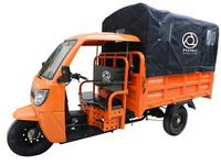 Urban Commercial Cargo Tricycle With Tarpaulin 1 Ton Heavy Load Water Cooling 90# Gasline Engine Three Wheel Motorcycle