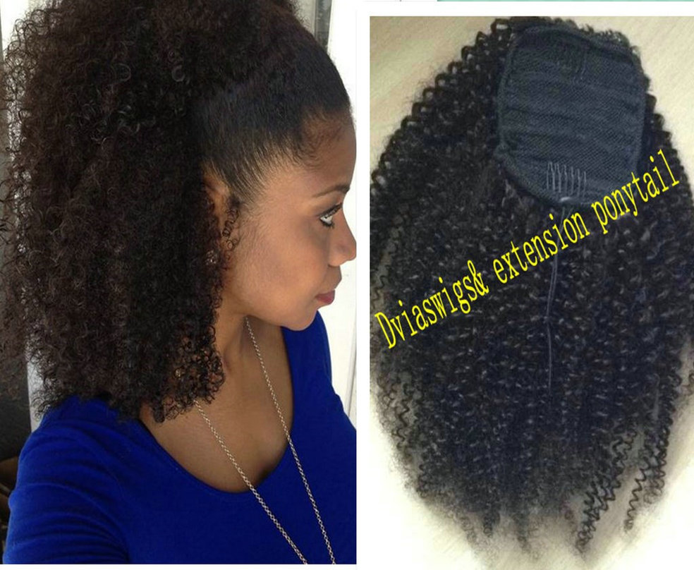 Afro Kinky Curly Ponytail Hair Extension Clip In Remy Hair Afro