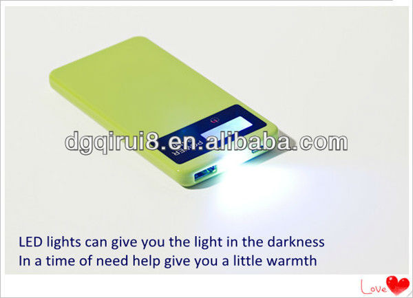 2013 new product 4500mah Mint green mobile power bank with LED light can keep light long time
