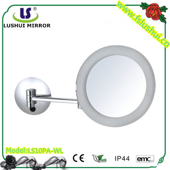 2016 hot selling wall mount round acrylic led light makeup shower mirror
