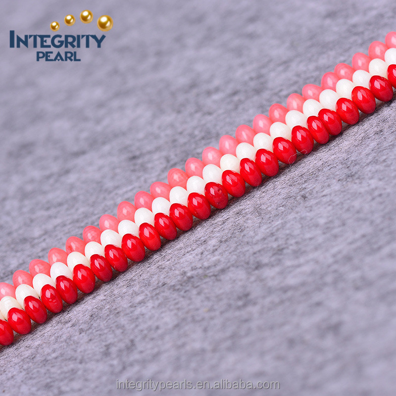 4*6mm artificial pink white red coral beads for sale, synthetic coral beads, dyed coral beads