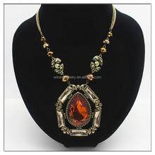 Multi row long chains large glass pendant necklace