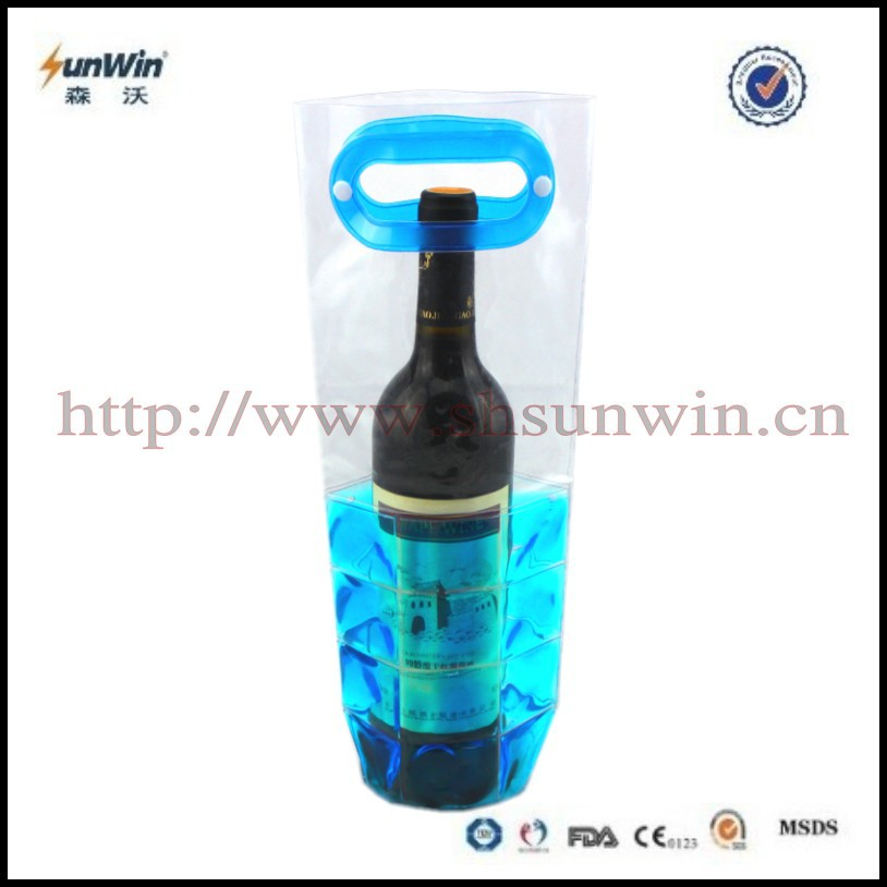 Reusable PVC beer wine cooler bag/gel bottle cooler/single beer bottle cooler
