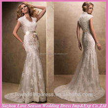 WD1277 Professional supplier with high quality high neckline closed back zipper coated buttons aliexpress wedding dresses