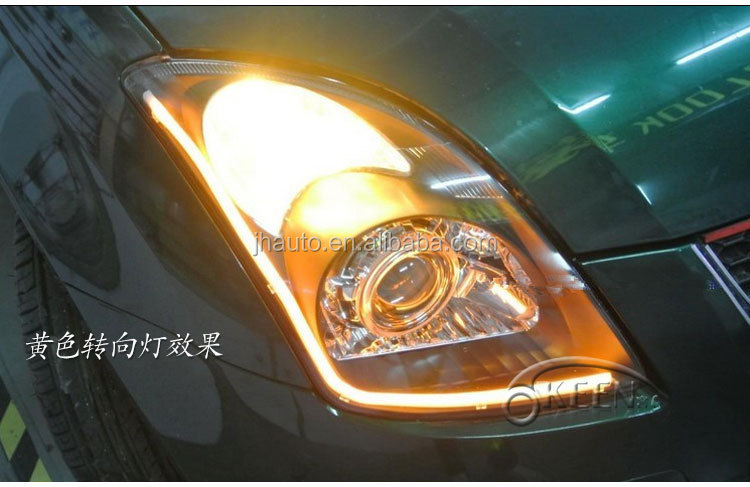 60cm white and amber 12V Flexible LED DRL turn light,Auto LED Daytime Running Light for All Cars
