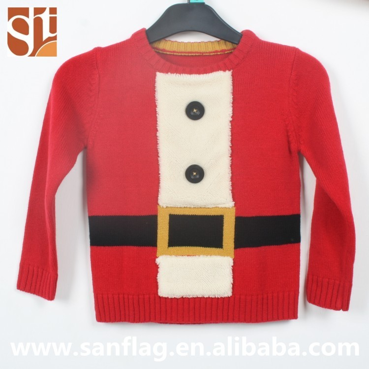 2016 Girls christmas winter pullover crew neck long sleeve red jacquard computer knitted sweater with hairy fabric
