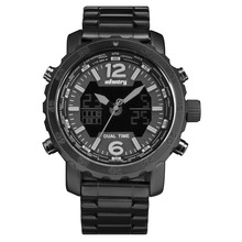 Infantry New Fashion All Black Stainless Steel Bracelet Alarm Clock Backlight Military Watch