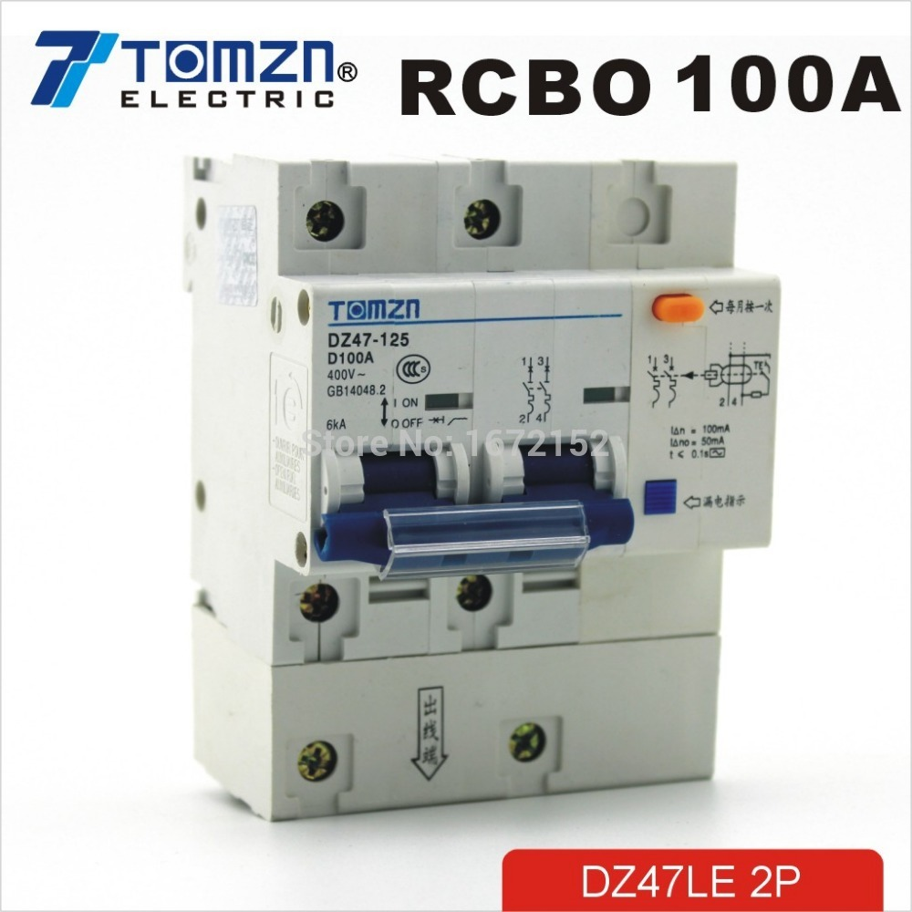 DZ47LE 2P 100A D type 400V~ 50HZ/60HZ Residual current Circuit breaker with over current and Leakage protection RCBO