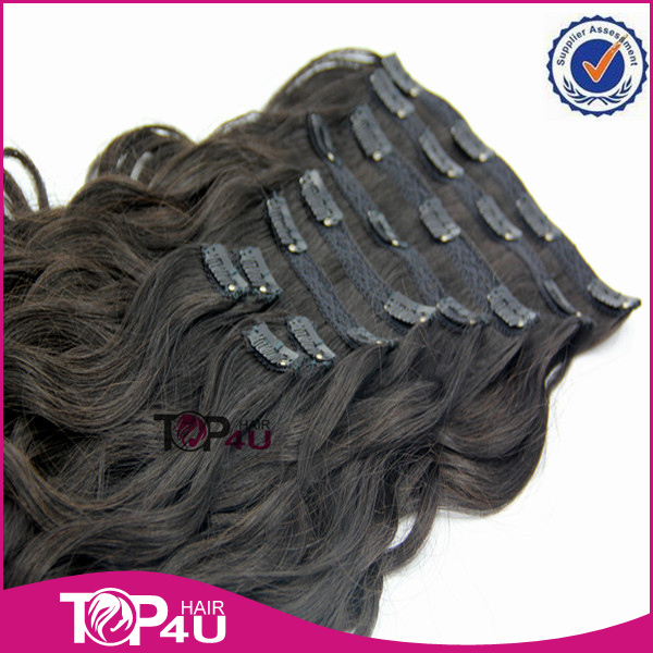 Wholesale 220g remy double weft clip in human hair extensions