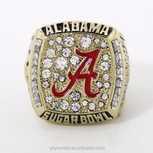 Gold plated diamond men's ring,Alabama red tide team championship rings(SWTPR1125)