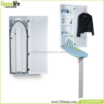 In wall folding ironing board cabinet mirror storage unit