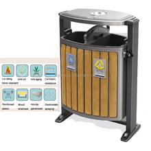 galvanized waste bin,double wooden trash bin