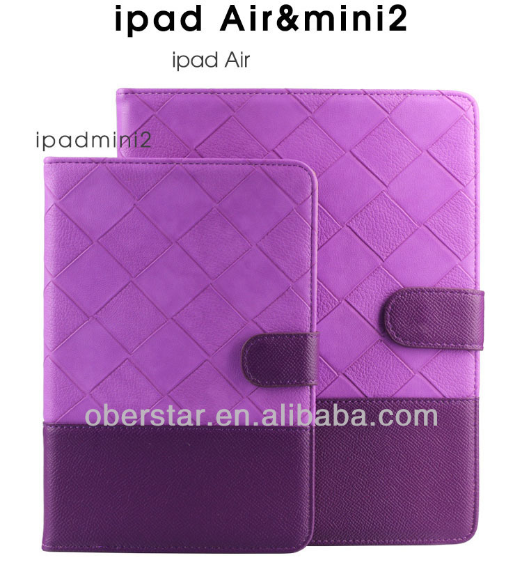 New Contrast Color Lozenge Leather Holster Cover Folio Case For Apple iPad 5