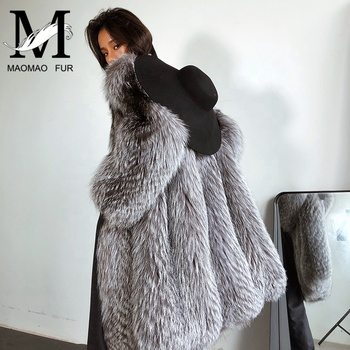 Silver Fox Fur Long Jacket Women Winter Warm Fashion Lady Real Fur Coat Fox