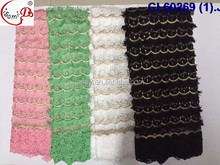 CL60269 Newest arriaval September plain design Fringe 3D embroidery lace fabric peach/green/white /black for dress