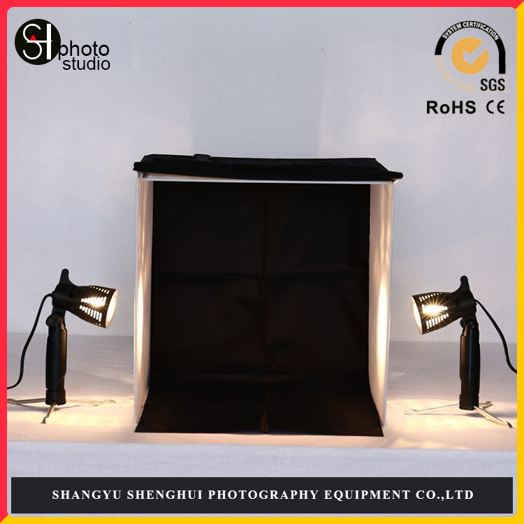 Good Quality 40cm / 16inch Photo Studio Square Light Tent + 4 Colors Backdrops +2*50w Spotlight Lamps + Rotatable Copy Stand